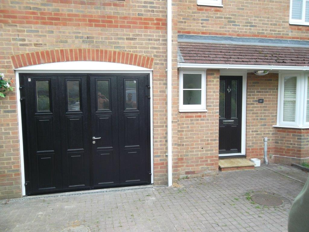 768 #855E46 Carteck Side Hinged Insulated Camberley Doormatic Garage Doors pic Black Steel Garage Doors 36511024
