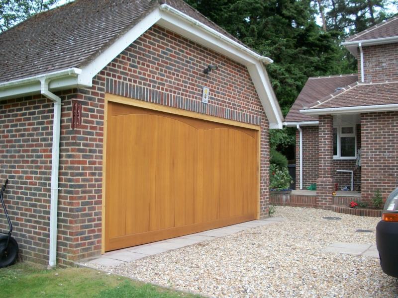 Solid Cedar Timber Garage Door Fitted In Leatherhead