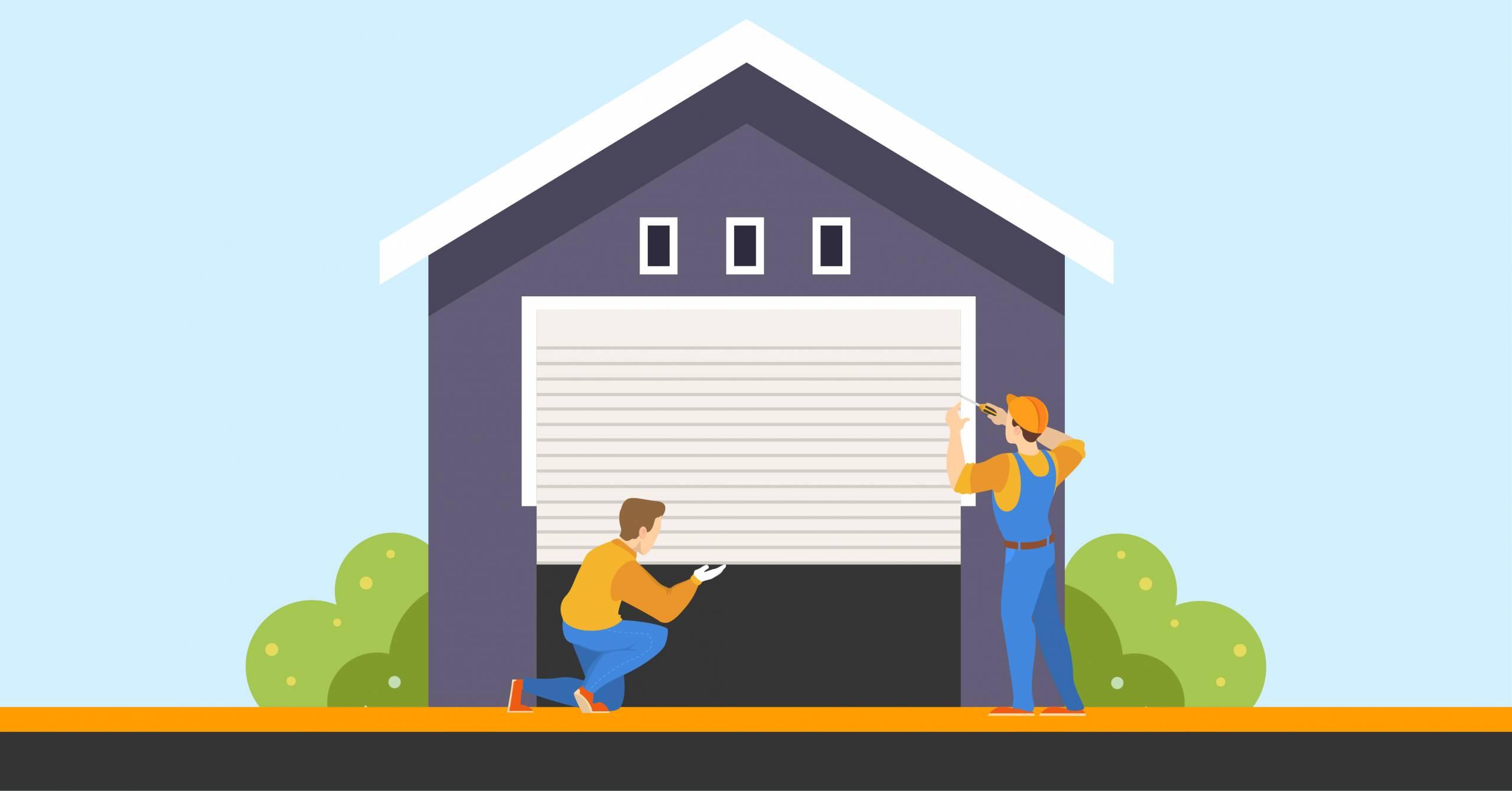 Graphic of workman installing a secure garage door