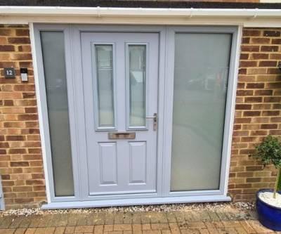 Matching Grey Garage Door & Front Door